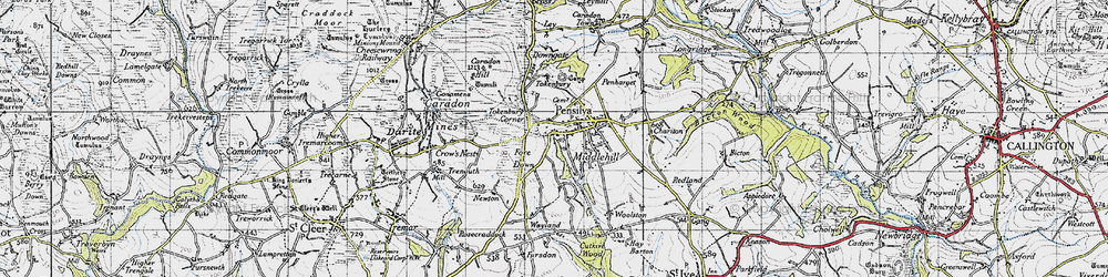Old map of Tokenbury Manor in 1946