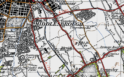 Old map of Middlesbrough in 1947