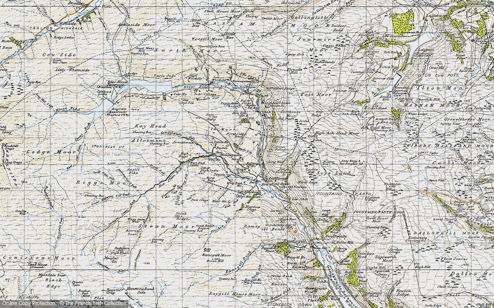 Old Map of Historic Map covering Thwaite Ho in 1947
