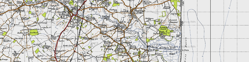 Old map of Westleton Common in 1946