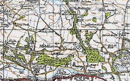 Old map of Heligar Pike in 1947