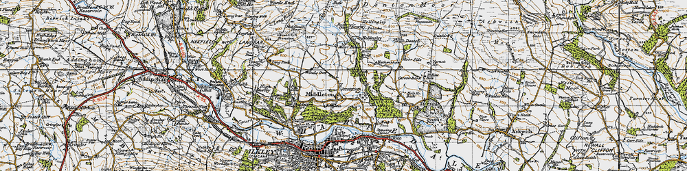 Old map of Wool Stones Hill in 1947