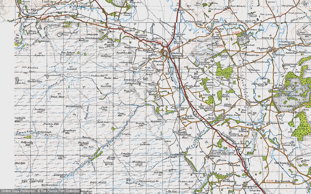 Old Map of Historic Map covering Langlee in 1947