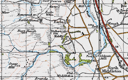 Old map of Wooler Common in 1947