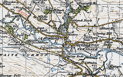 Old map of Middleton in Teesdale in 1947