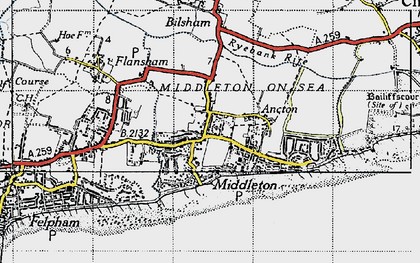 Old map of Middleton-on-Sea in 1945
