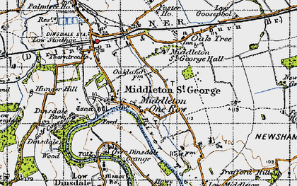 Old map of Middleton One Row in 1947