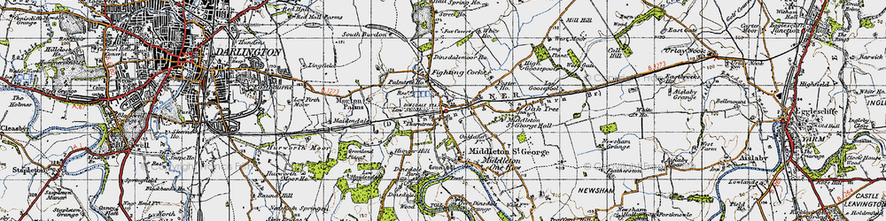 Old map of Middleton St George in 1947