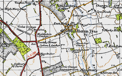 Old map of Middleton Tyas in 1947