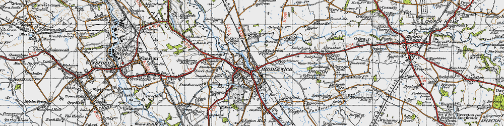 Old map of Middlewich in 1947