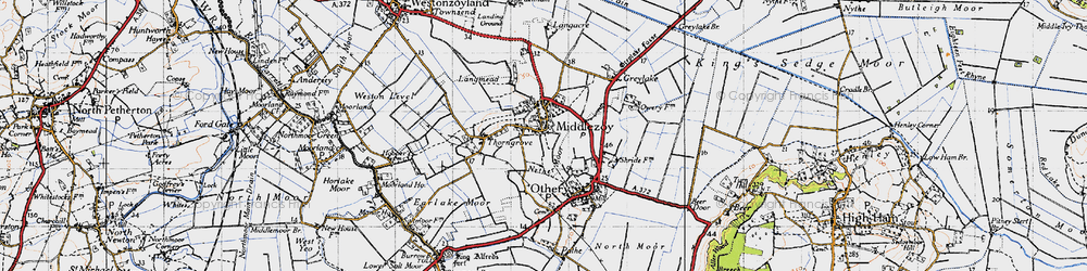 Old map of Middlezoy in 1945