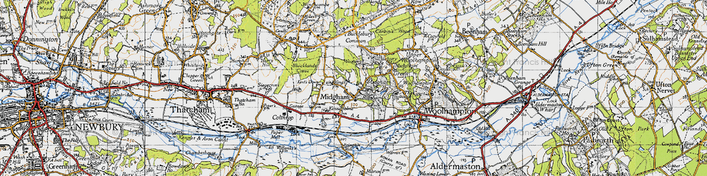 Old map of Woottens in 1945