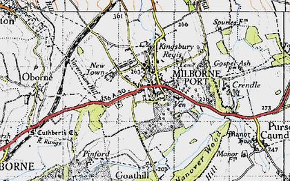 Old map of Milborne Port in 1945