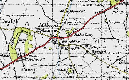 Old map of Milborne St Andrew in 1945