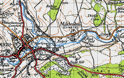 Old map of Mildenhall in 1940