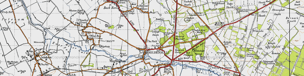 Old map of Mildenhall in 1946