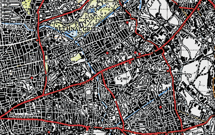 Old map of Mile End in 1946