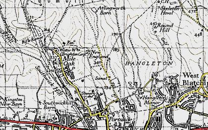 Old map of Mile Oak in 1940