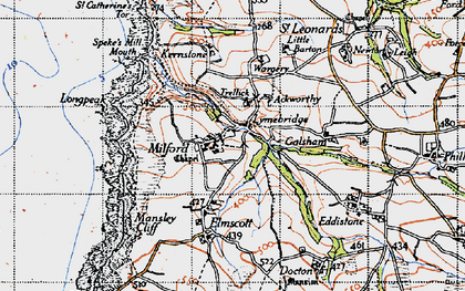 Old map of Ackworthy in 1946