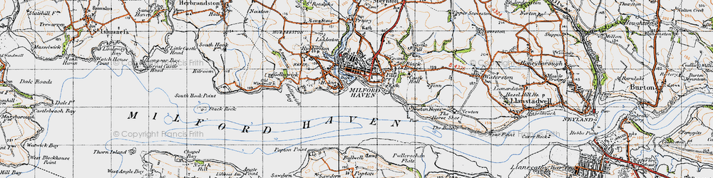 Old map of Milford Haven in 1946