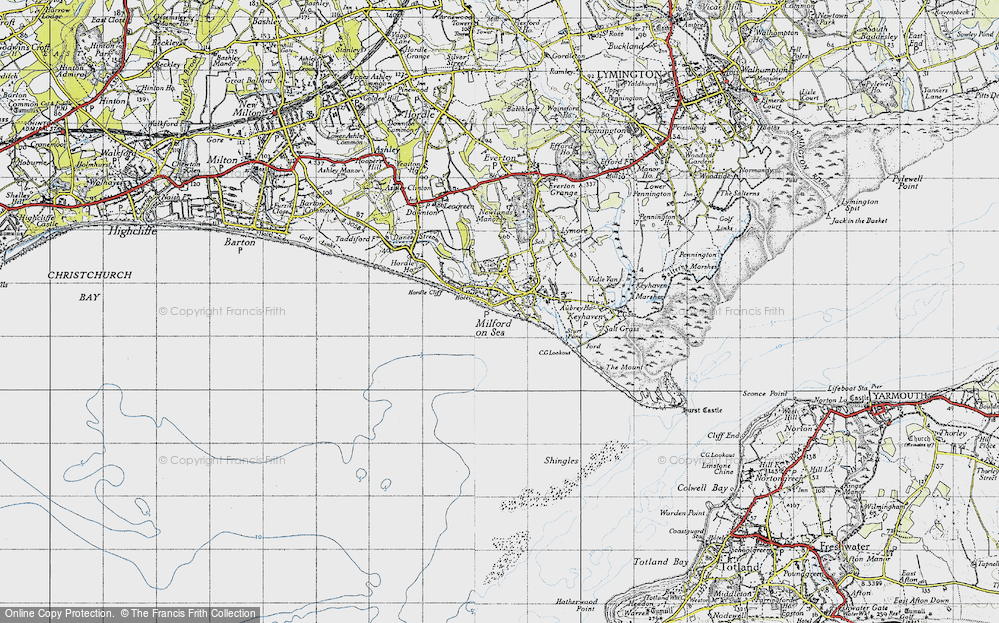 Old Map of Milford on Sea, 1940 in 1940