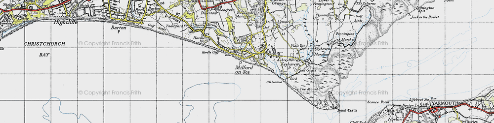 Old map of Milford on Sea in 1940