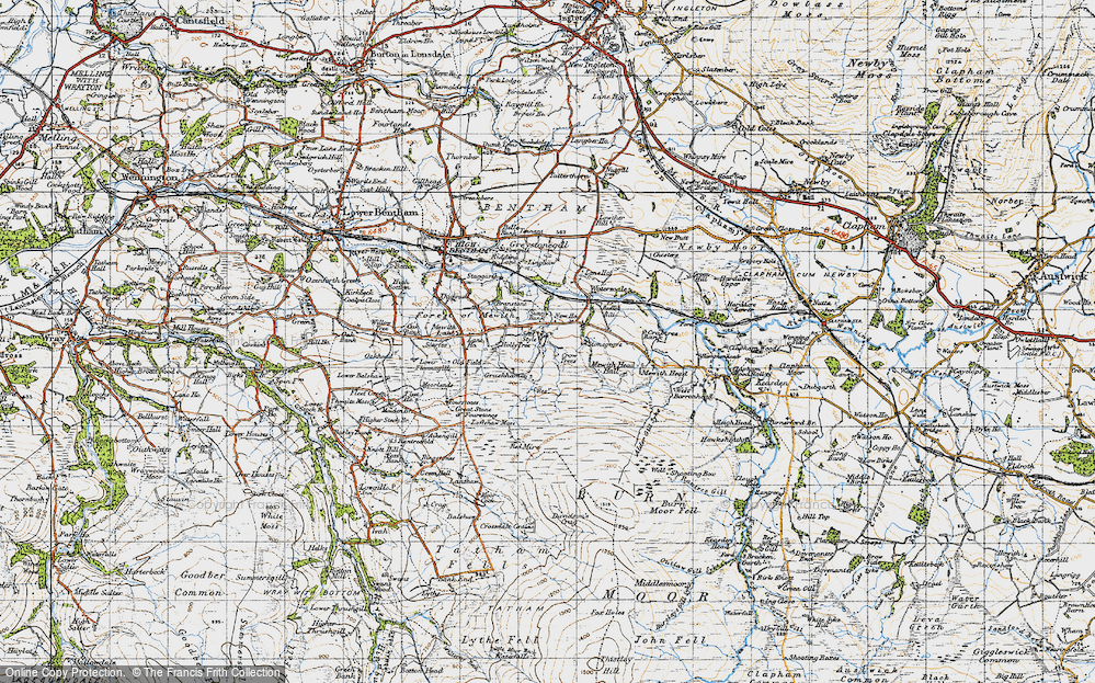 Old Map of Historic Map covering Lanshaw in 1947