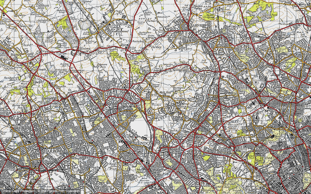 Old Map of Mill Hill, 1945 in 1945