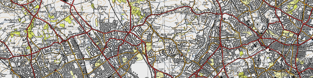 Old map of Mill Hill in 1945