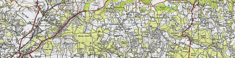 Old map of Milland in 1940
