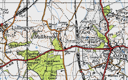 Old map of Ampthill Park Ho in 1946