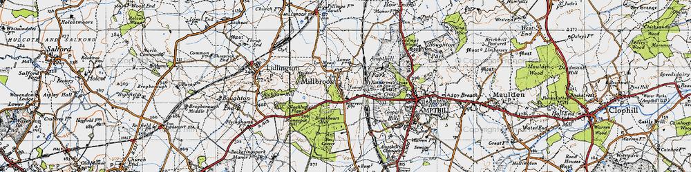 Old map of Ampthill Park Ho in 1946
