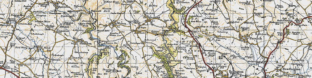 Old map of Milldale in 1947