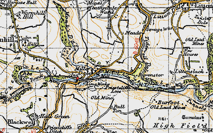 Old map of Miller's Dale in 1947
