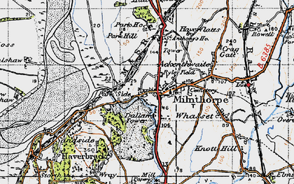 Old map of Milnthorpe in 1947
