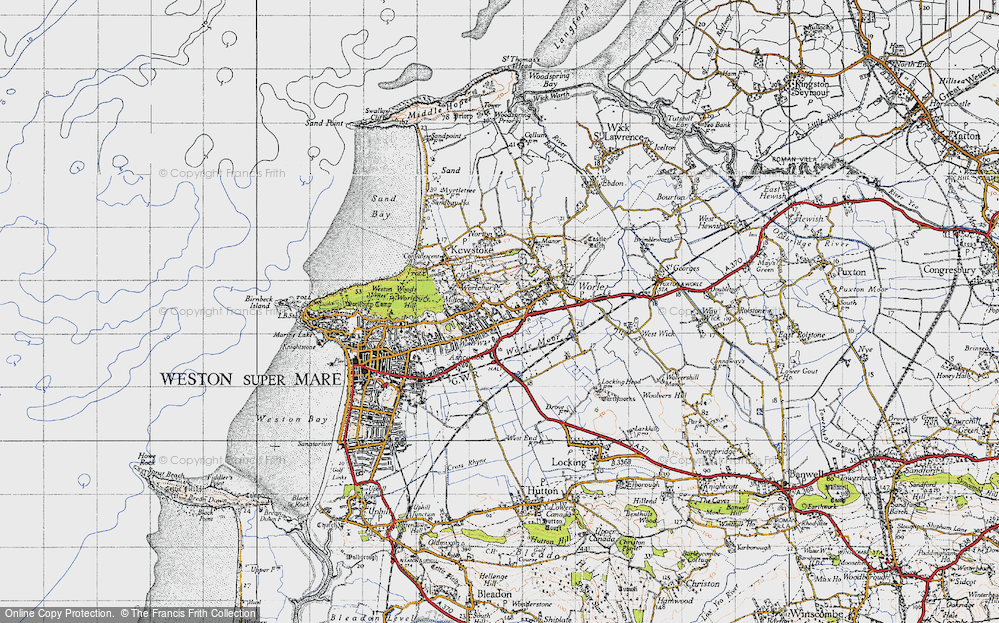 Old Map of Historic Map covering Airfield (disused) in 1946