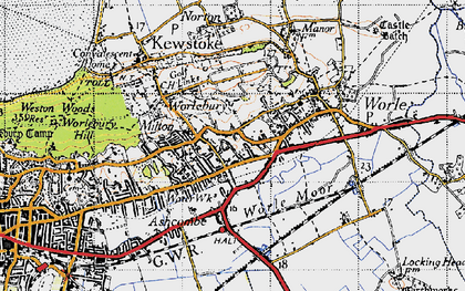 Old map of Airfield (disused) in 1946