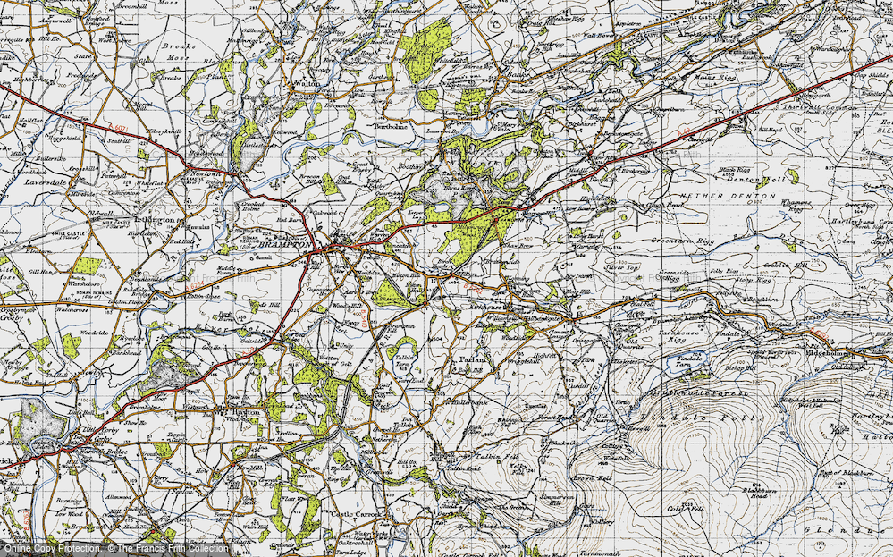 Old Map of Historic Map covering Wreay in 1947