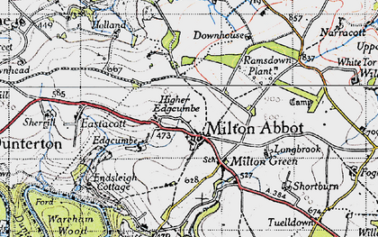 Old map of Milton Abbot in 1946