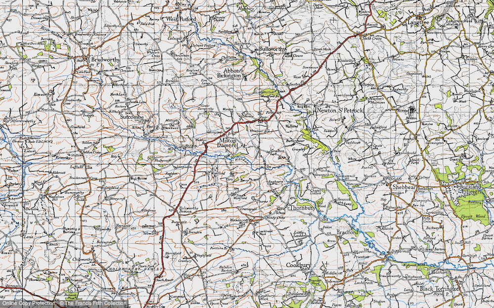 Old Map of Historic Map covering Wonford in 1946
