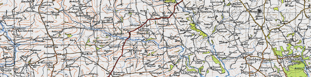 Old map of Wonford in 1946