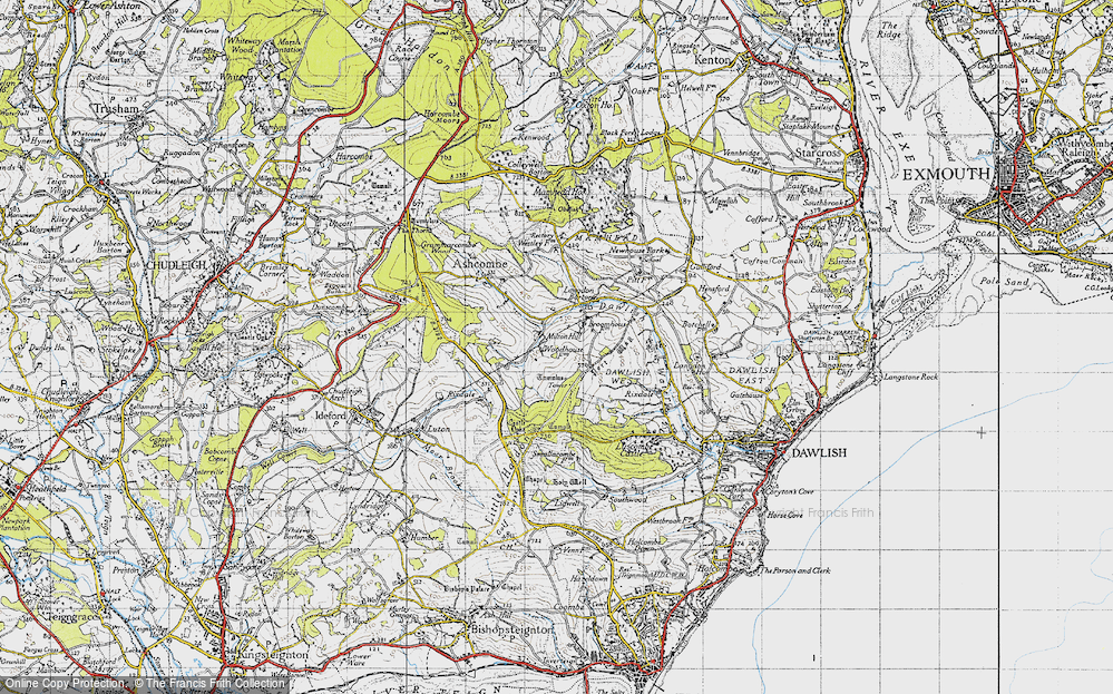 Old Map of Historic Map covering Ashcombe Tower in 1946