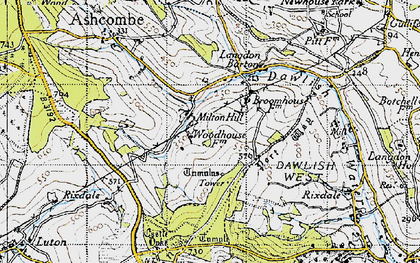 Old map of Ashcombe Tower in 1946