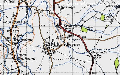 Old map of Milton Keynes Village in 1946