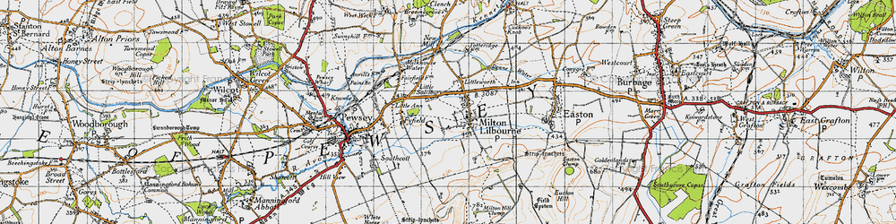 Old map of Milton Lilbourne in 1940