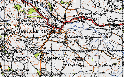 Old map of Milverton in 1946