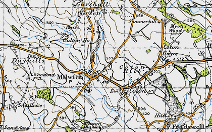 Old map of Wheatlow Brook in 1946