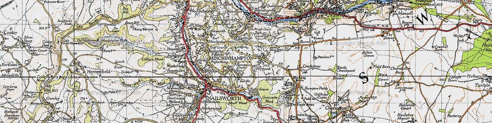 Old map of Minchinhampton in 1946