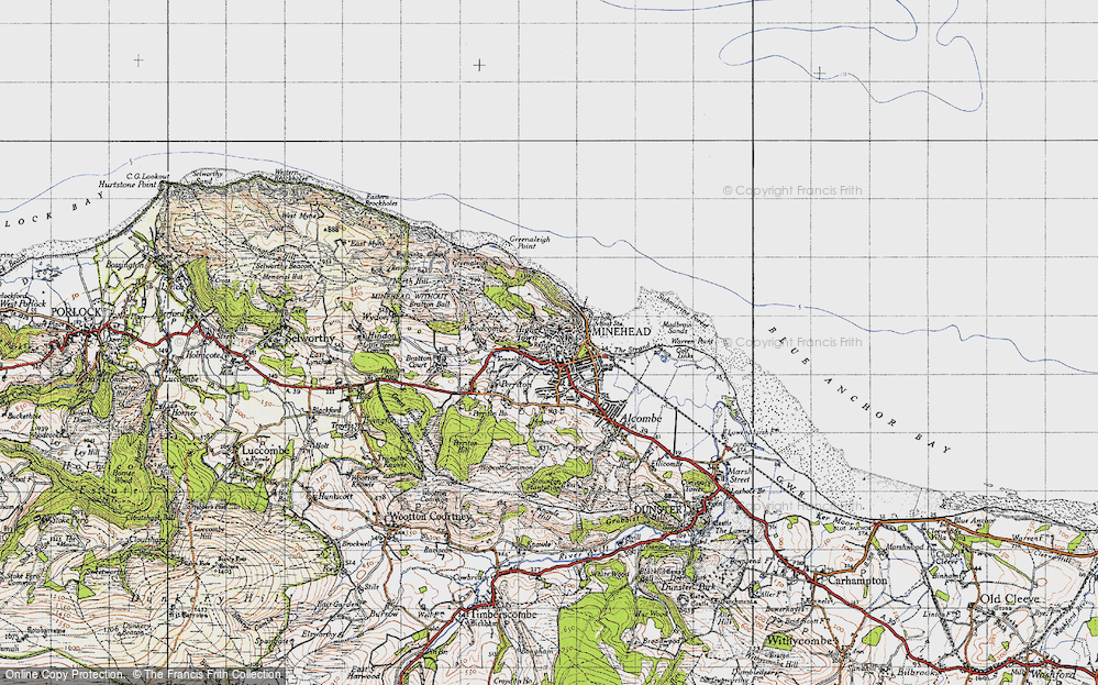 Old Map of Minehead, 1946 in 1946