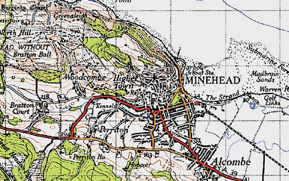 Old map of Minehead in 1946